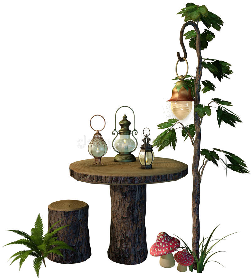 Fantasy table with lamps. 3D render of a fantasy table with vintage lamps stock illustration