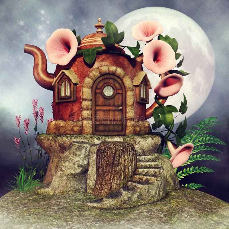 Teapot fairy cottage. Fantasy teapot fairy cottage at night, with the moon, flowers and green fern vector illustration
