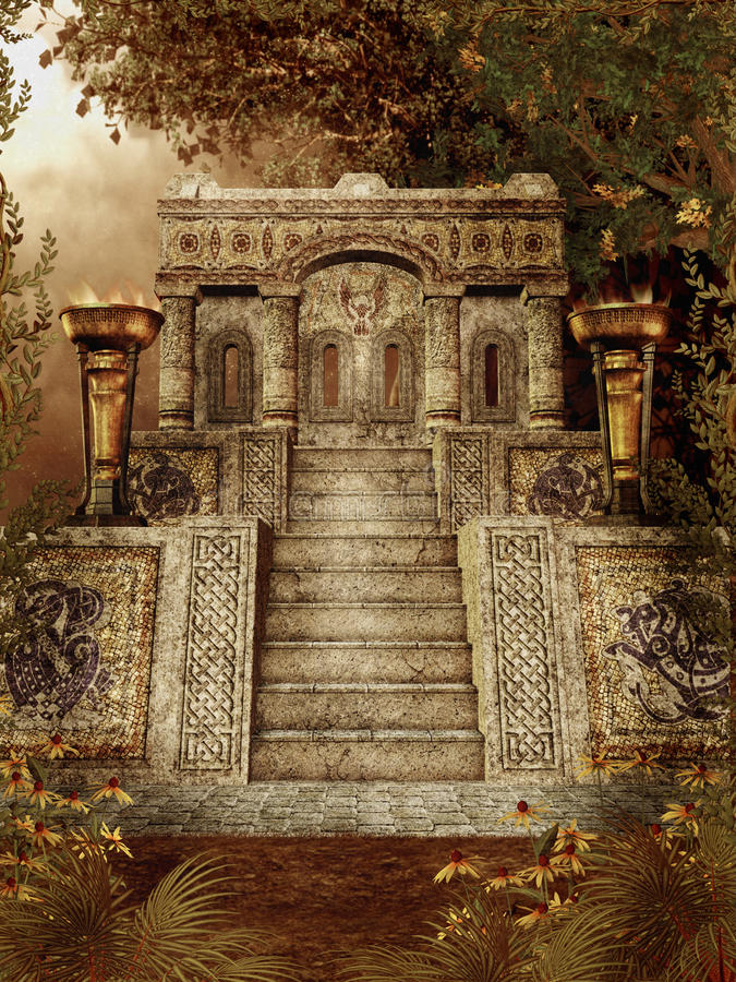 Fantasy temple 1. Autumnal scenery with an ancient fantasy temple in a forest vector illustration