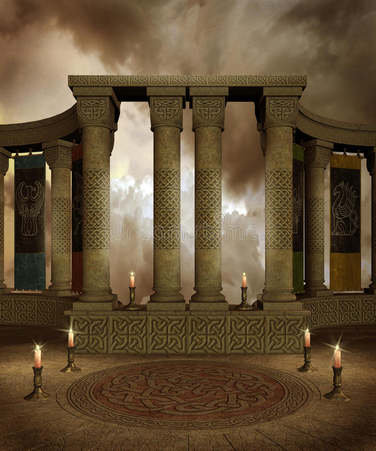 Fantasy temple 3. Fantasy temple with Celtic columns and candles royalty free illustration