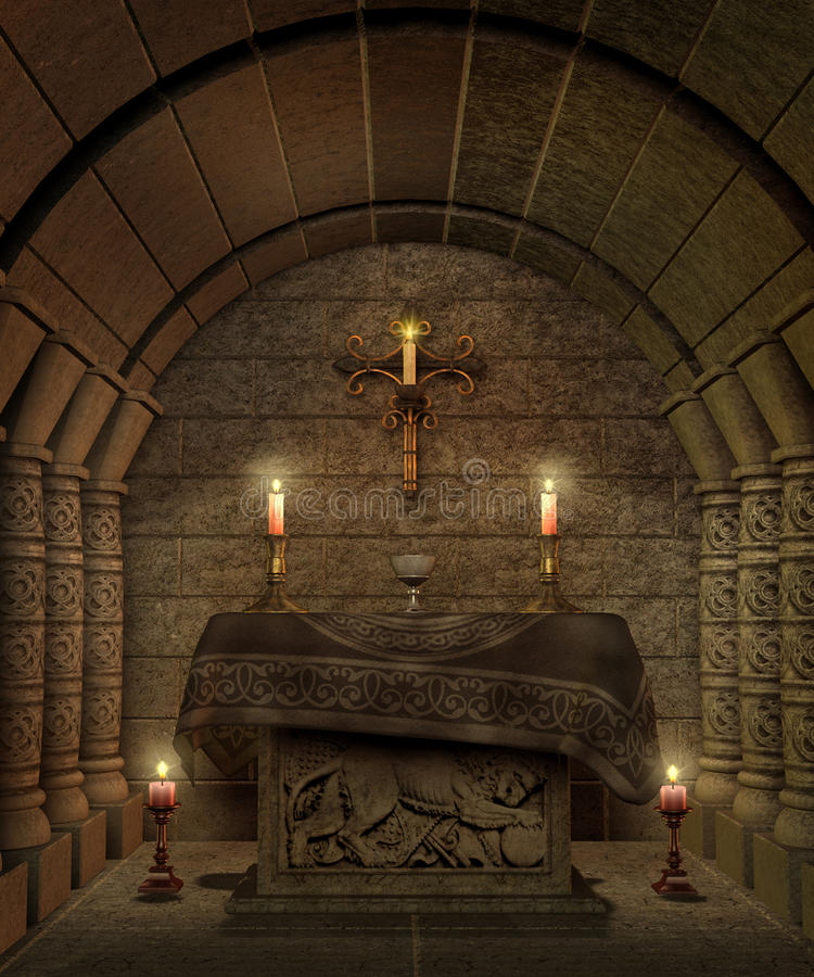 Fantasy temple 8. Fantasy temple interior with an altar and candles vector illustration