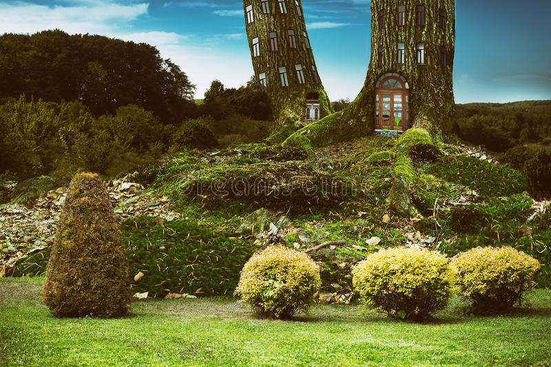 Fantasy tenement tree house in deep forest royalty free stock image