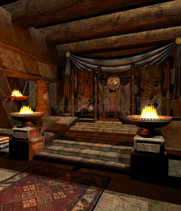 Fantasy throne room 2. Fantasy barbarian throne chamber with torches stock illustration