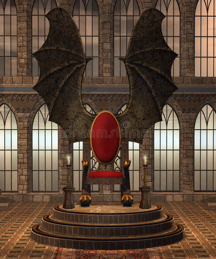 Fantasy throne room 3. Fantasy throne room with a winged throne royalty free illustration