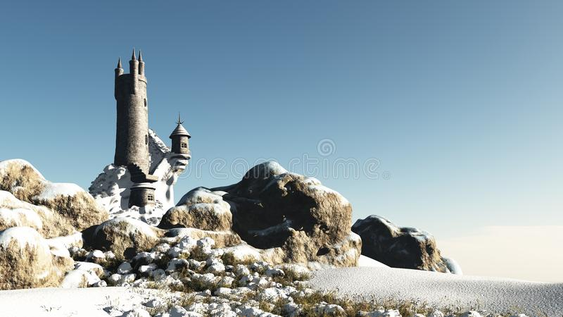 Fantasy Tower in the Snow royalty free illustration