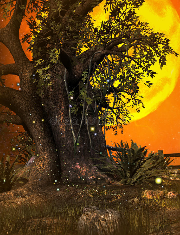 Fantasy Tree Background Stock Illustration