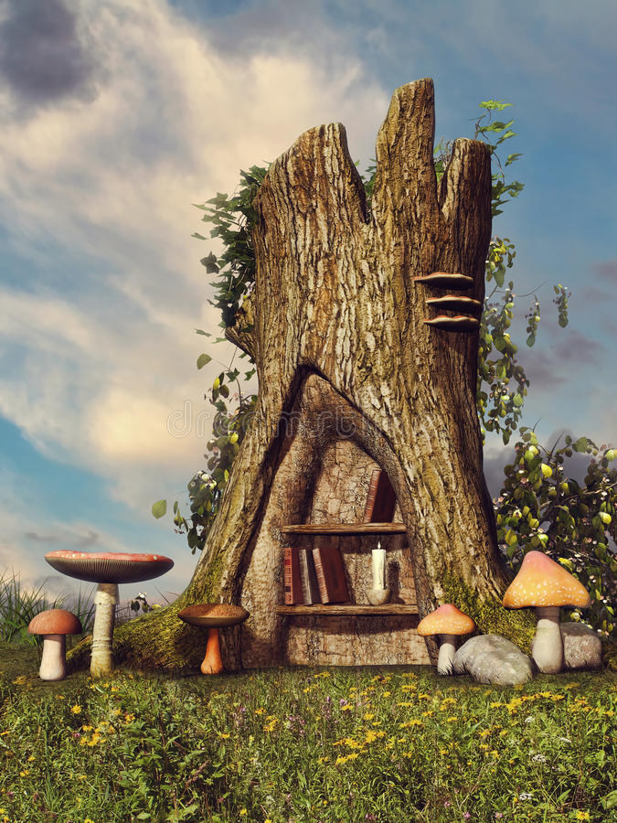 Fantasy tree with a bookshelf stock illustration