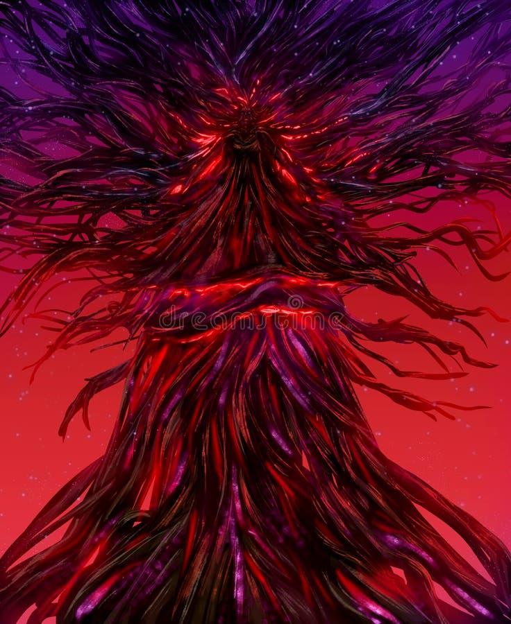 Fantasy tree goddess nymph illustration. Illustration of a fantasy goddess locked in a fire glowing tree with crimson background stock illustration