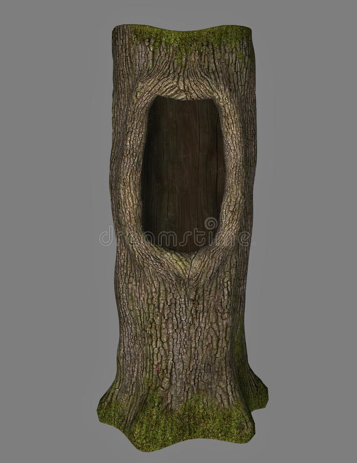 Fantasy tree. A fantasy tree with hole isolated on grey in 3d vector illustration