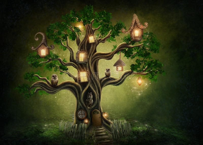Fantasy tree house. In forest stock photo