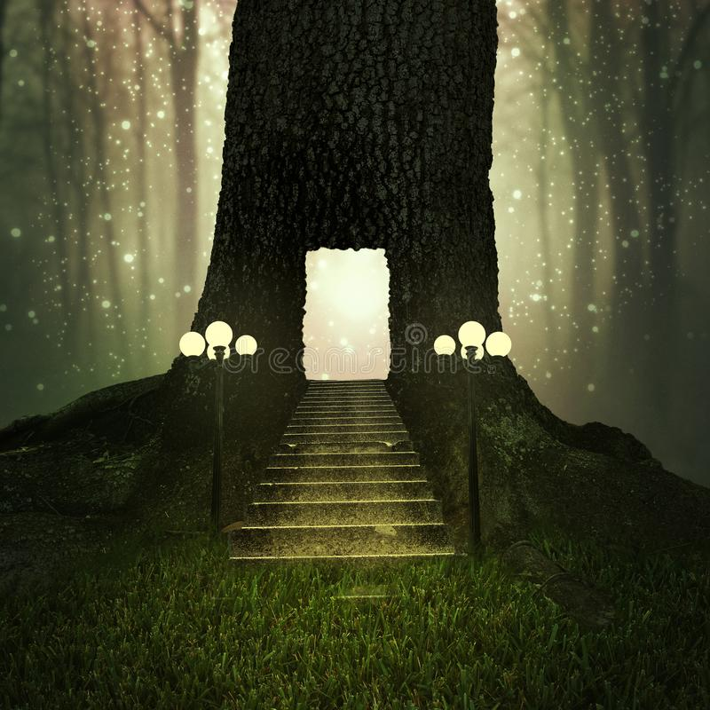 Fantasy tree house in a magical forest royalty free stock photography