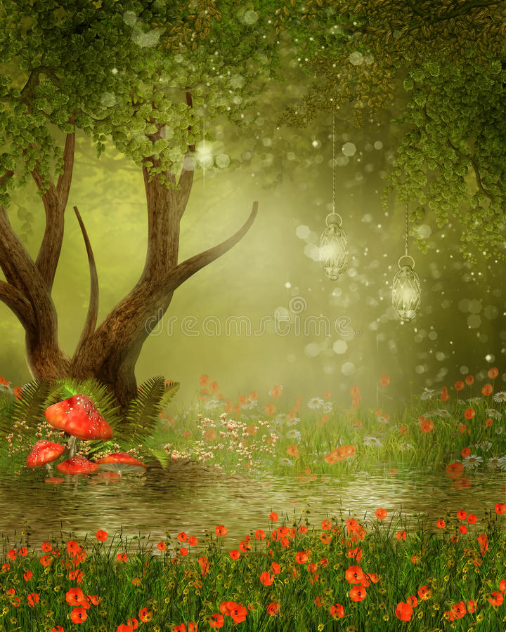 Fantasy tree by a pond vector illustration