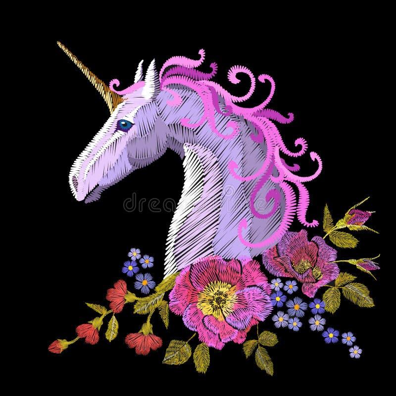 Fantasy unicorn embroidery patch sticker. Pink violet mane horse flower arrange poppy rose ornament. Cartoon badge magic royalty free illustration