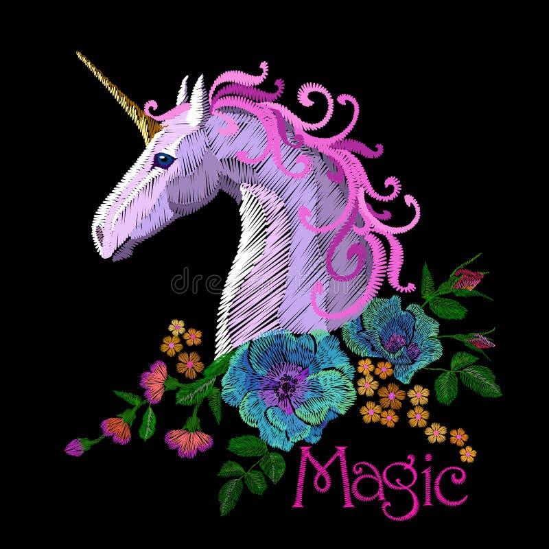 Fantasy unicorn embroidery patch sticker. Pink violet mane horse flower arrange poppy rose ornament. Cartoon badge magic. Vector illustration art stock illustration