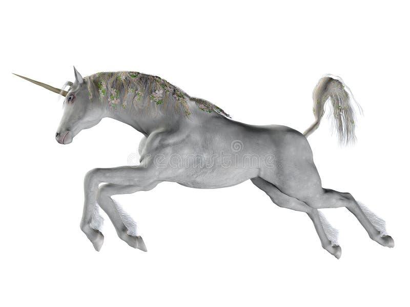 Fantasy unicorn jumping stock illustration