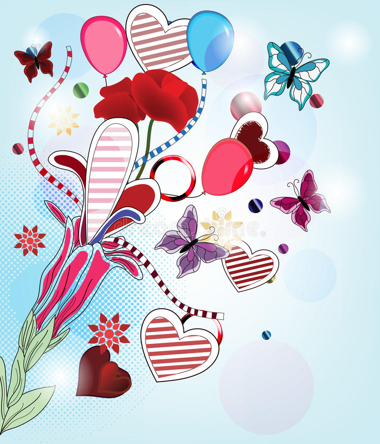 Download Fantasy valentine postcard stock vector. Illustration of invitation - 23010363