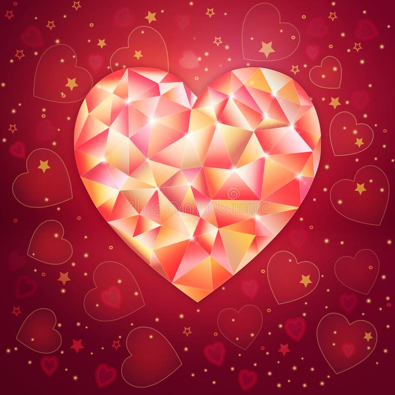 Fantasy Valentines day romantic design with low poligonal jewel heart on an royal red background vector illustration