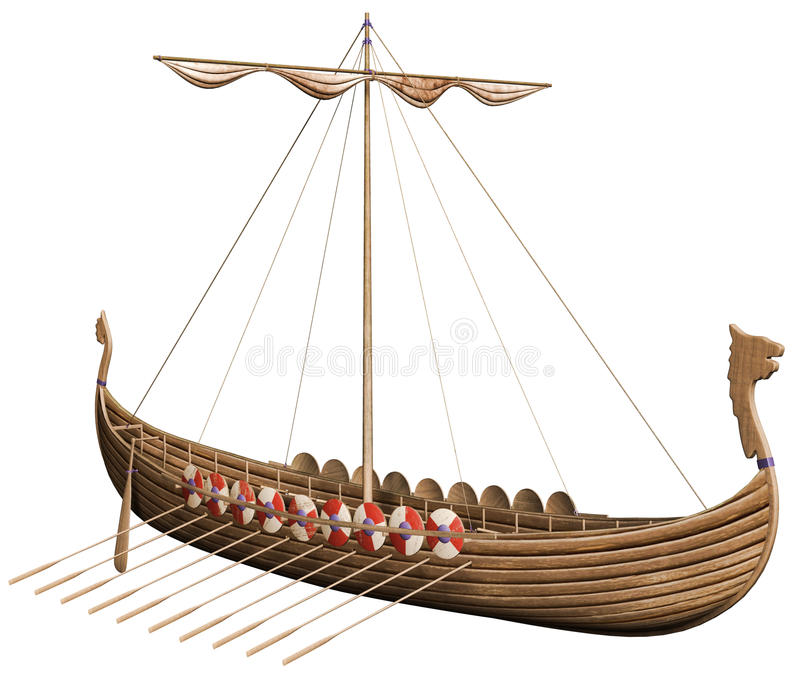 Fantasy Viking boat royalty free illustration