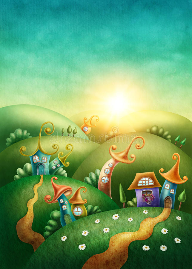 Fantasy village. With funny houses stock illustration