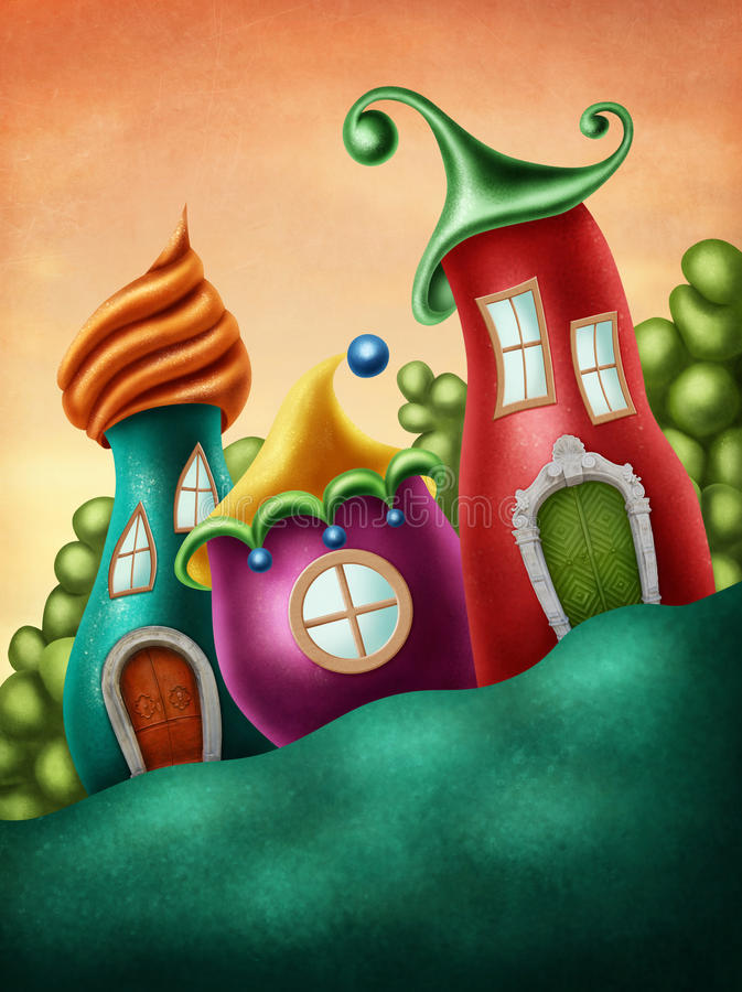Fantasy village. With funny houses royalty free illustration