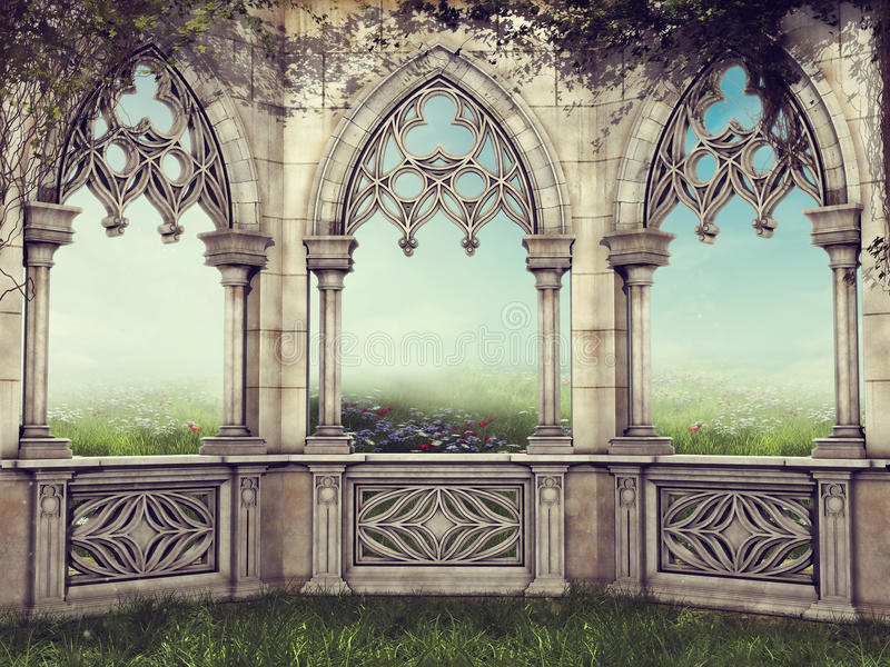 Fantasy wall with vines royalty free illustration