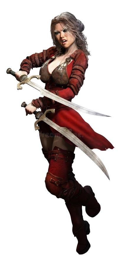 Fantasy warrior. Fantasy female warrior with 2 swords stock illustration