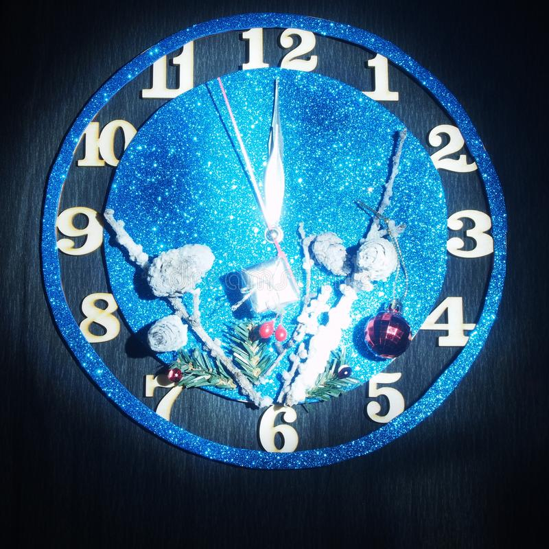 Fantasy watch. Arrows show about twelve hours. Soon the new year. Still life stock images