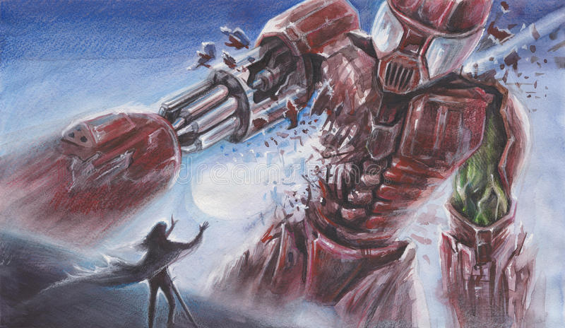 Fantasy Watercolor Landscape - Big Red Robot fights with a person with magical powers performed by watercolor and color pencils stock illustration