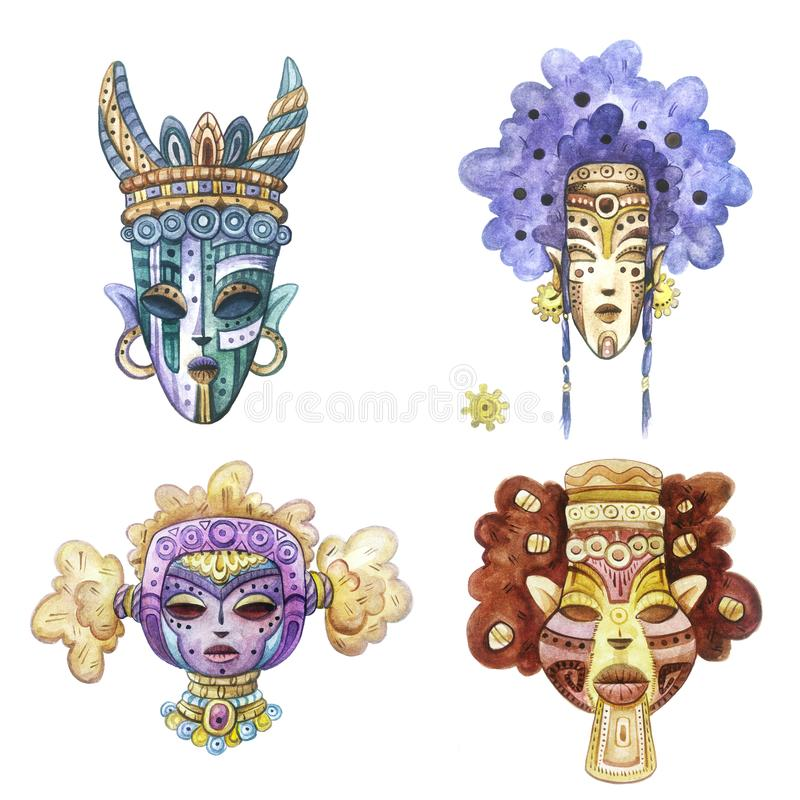 Fantasy watercolor tribal masks collection royalty free stock photography