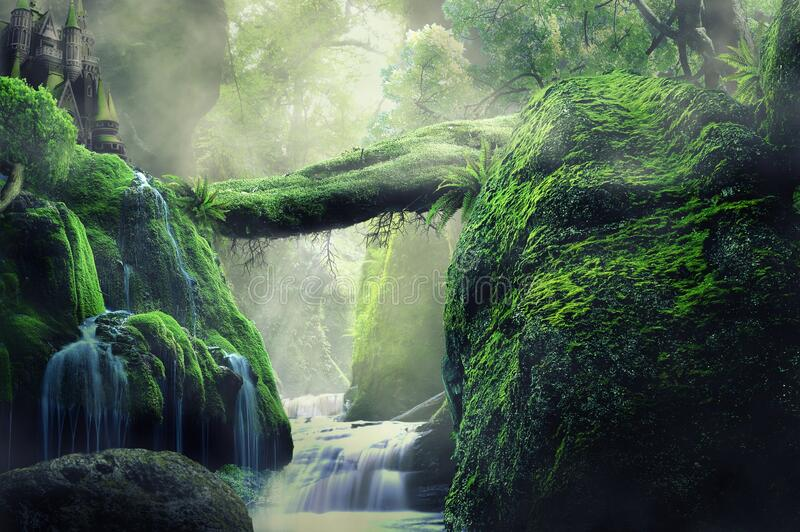 Fantasy waterfall with castle on hill stock photos