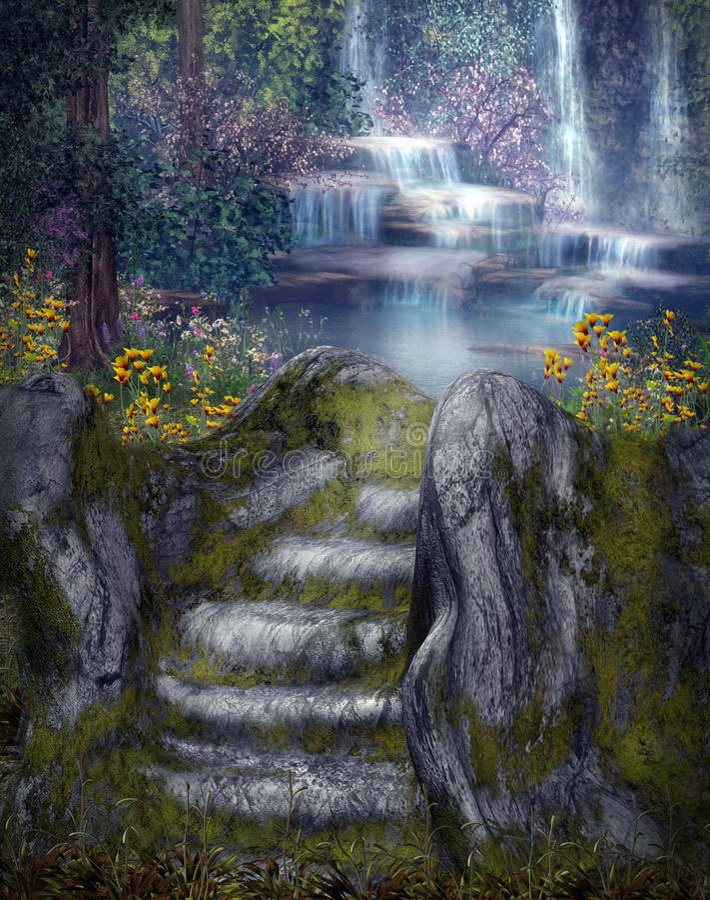 Fantasy waterfalls stock illustration