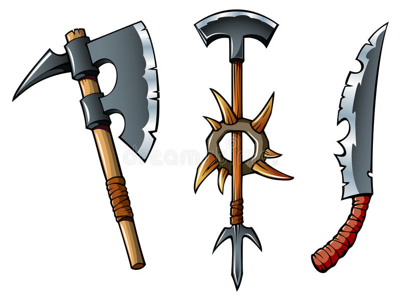 Download Fantasy weapons stock vector. Image of isolated, insignia - 25442549