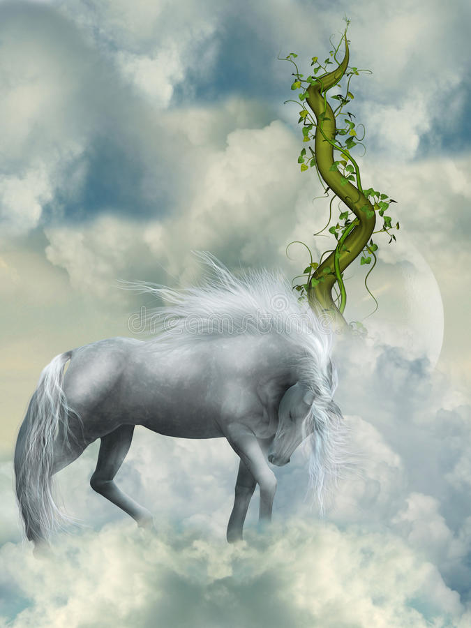 Fantasy white horse vector illustration