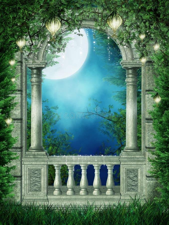 Fantasy window with lanterns stock illustration