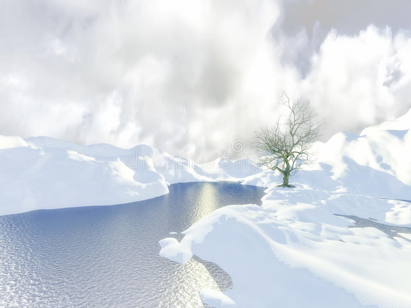 Fantasy winter landscape stock illustration