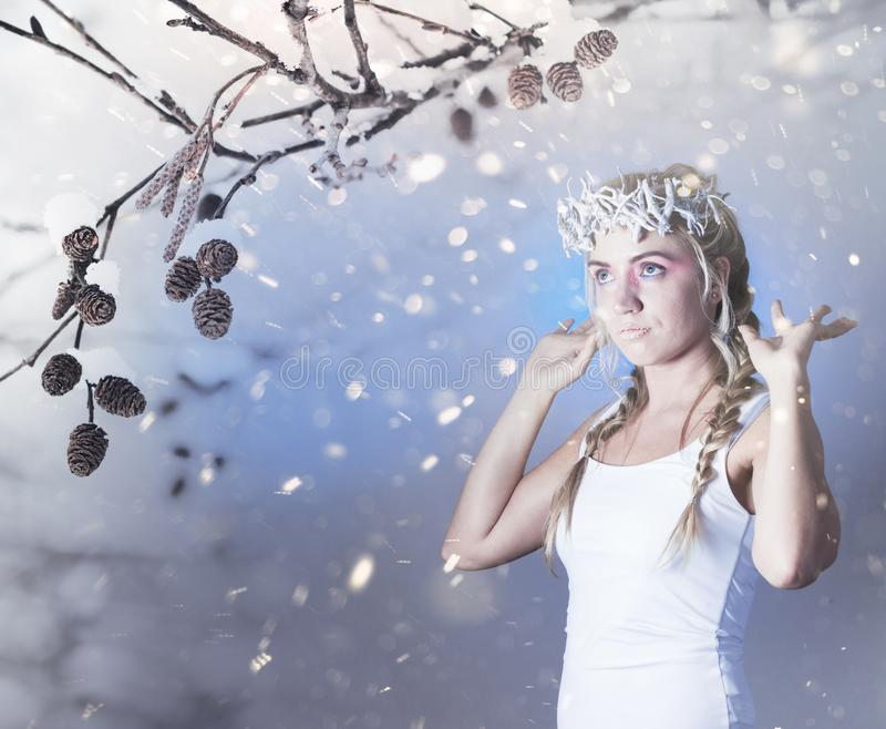 Fantasy winter queen. From fairytale forest, ice makeup royalty free stock photos