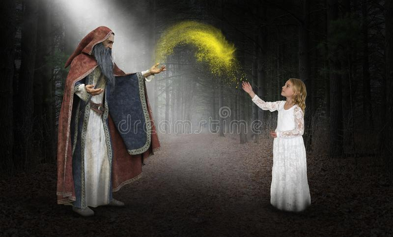 Fantasy Wizard, Imagination, Magic, Girl. A young girl uses her imagination to pretend she is with a wizard doing magic in the nature of a deep, dark, mysterious stock photos