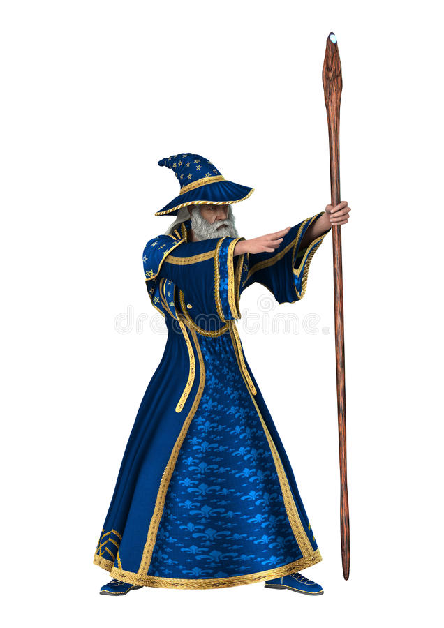 Fantasy Wizard on White. 3D digital render of a fantasy wizard on white background vector illustration
