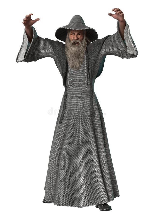 Fantasy Wizard on White. 3D digital render of a fantasy wizard isolated on white background stock illustration