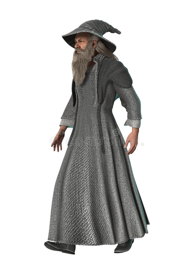 Fantasy Wizard on White. 3D digital render of a fantasy wizard walking isolated on white background royalty free illustration