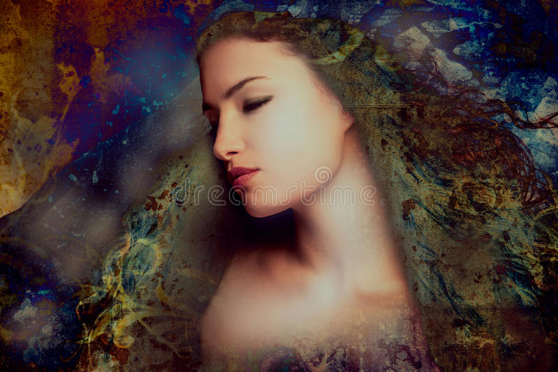 Fantasy woman. Portrait photo compilation stock photos