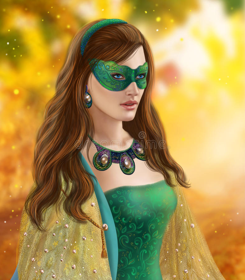 Fantasy woman, beautiful snow queen in green mask.Autumn snow. Illustration beautiful Fantasy woman . queen. Portrait royalty free illustration