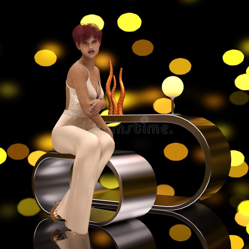 Fantasy woman with bokeh background. 3D CG Fantasy woman with bokeh background vector illustration