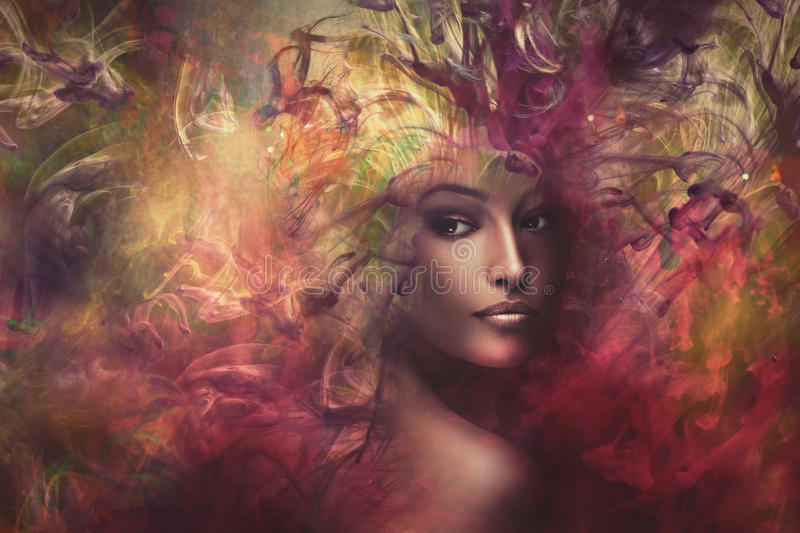 Fantasy woman composite. Fantasy colorful beautiful young woman portrait, composite photo stock photography