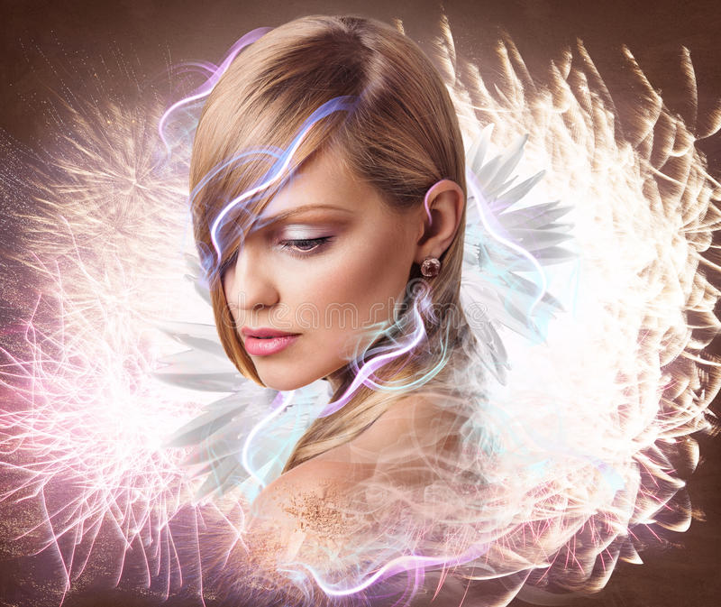 Fantasy woman with flowers, smoke and lights. Beautiful fantasy woman with flowers, smoke and lights. Colorful digital artwork stock images