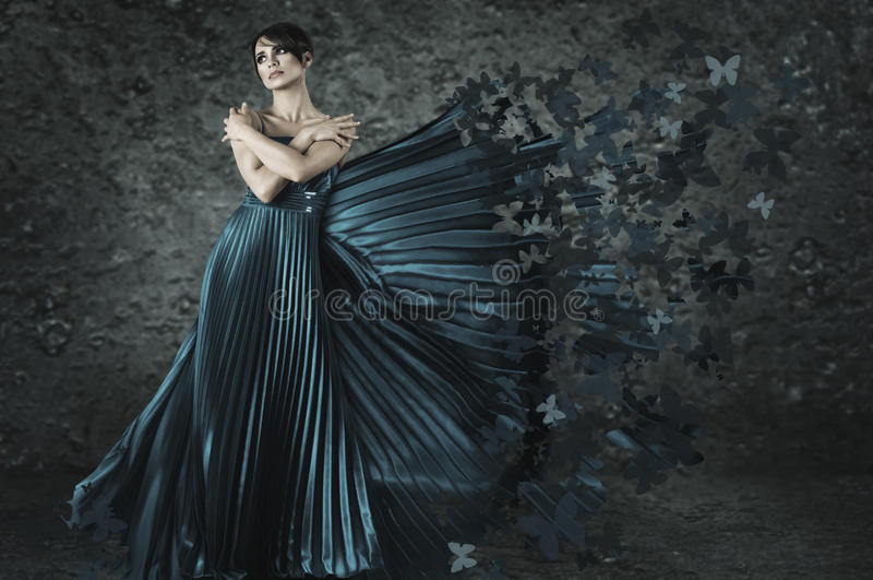 Fantasy woman in long dress stock image