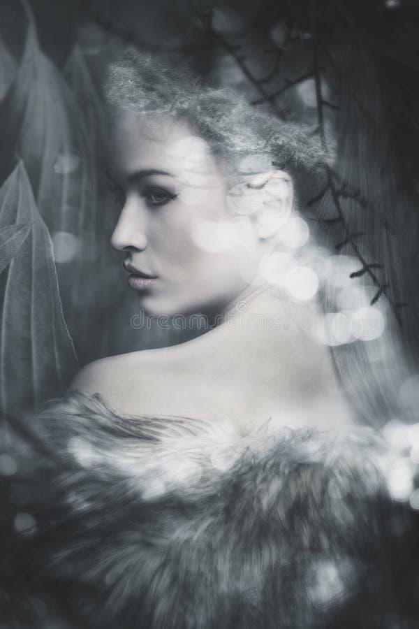 Fantasy woman portrait. Fantasy fairy beautiful woman portrait composite photo stock photography