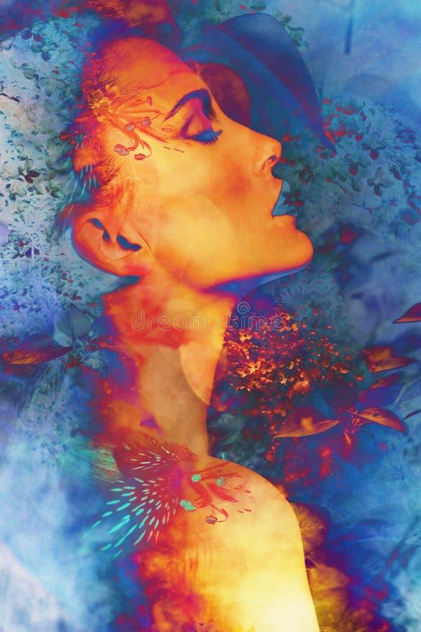 Fantasy woman portrait. Vibrant colorful fantasy woman portrait profile closeup stock photography