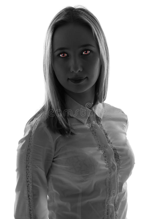 Fantasy woman with red eyes stock image