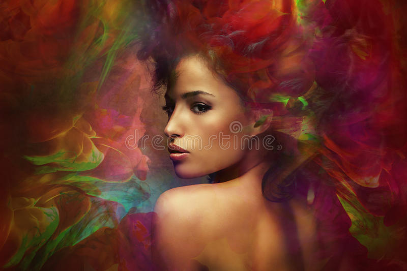 Fantasy woman sensation stock photo
